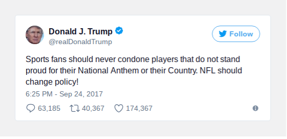 President Trump responded to some of the football protests over Twitter (Photo provided by NY Times).