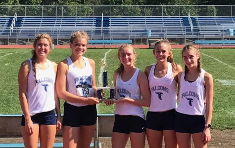 (From left to right) Varsity runners Sarah Jones, Hallie Mills, Triniti Spurgeon, Selah Campbell and Emma Hendrix place 3rd of 20 schools at the Highland Invitational (Photo provided by Mike Armstrong).
